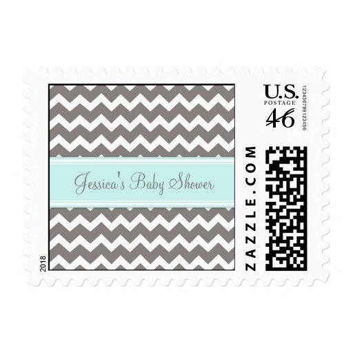 Blue Gray Chevron Custom Baby Shower Stamps
