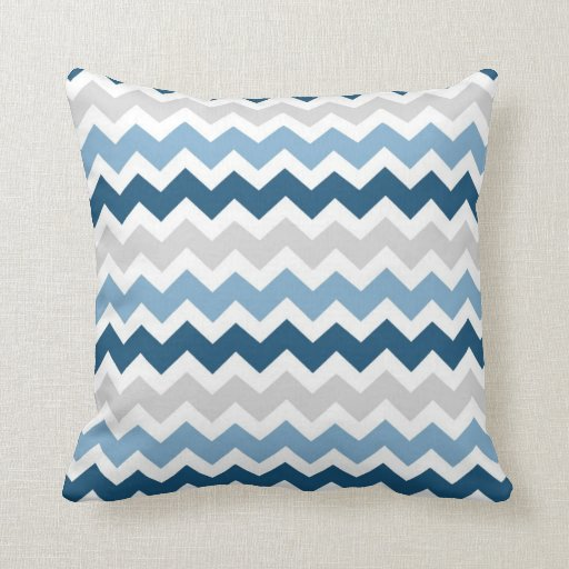 Blue Gray Chevron Decorative Pillow