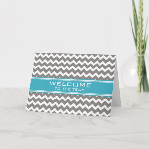 Blue Gray Chevron Employee Welcome to the Team Card