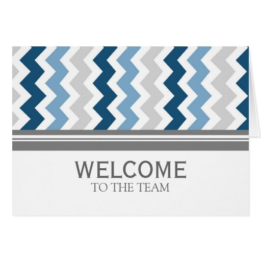 Blue Gray Chevron Employee Welcome to the Team Card | Zazzle