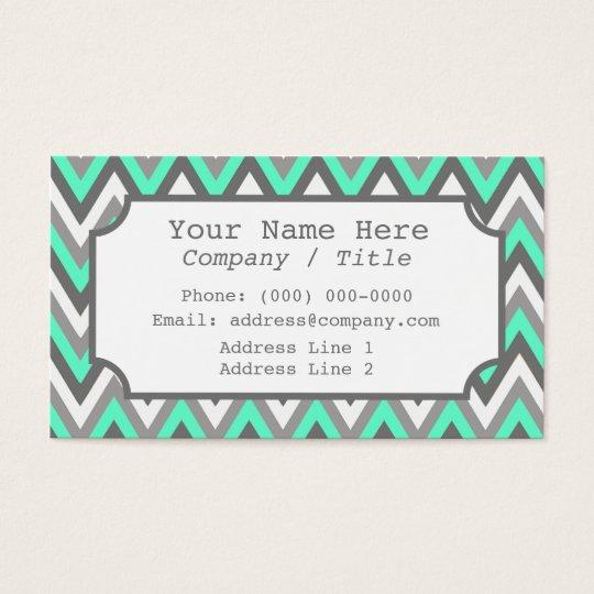 Blue Gray Chevron Label Business Card