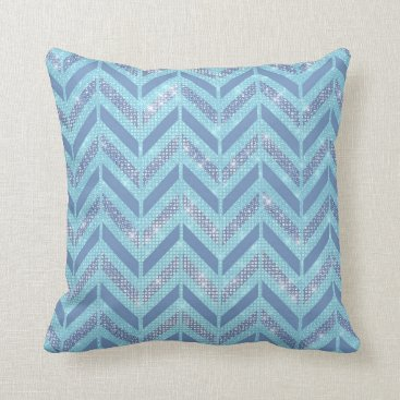 McTiffany Tiffany Aqua Blue Gray Chevron Pastel Tiffany Zig Zag Geometry Throw Pillow