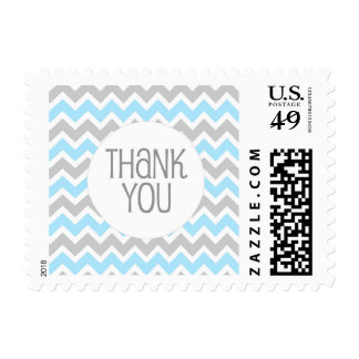 Blue Gray Chevron Thank You stamp