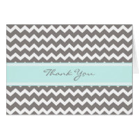 Blue Gray Chevrons Baby Shower Thank You Card