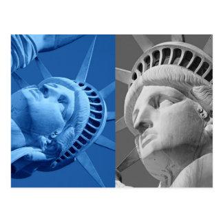 Blue Gray Close-up Statue of Liberty Postcard
