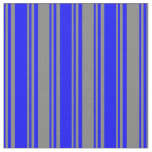 [ Thumbnail: Blue & Gray Colored Stripes Pattern Fabric ]