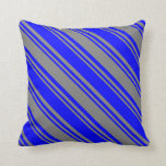 [ Thumbnail: Blue & Gray Colored Stripes Pattern Throw Pillow ]