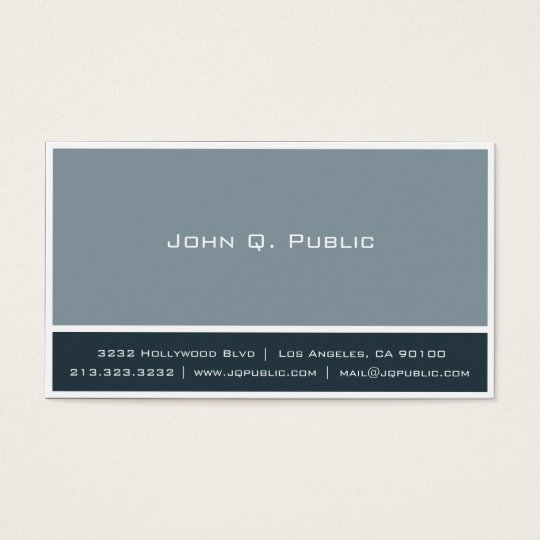 Blue Gray Colors with White Border Business Card