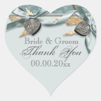 Blue gray country heart wedding heart sticker