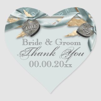 Blue gray country heart wedding heart stickers