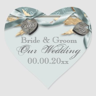 Blue gray country heart wedding stickers