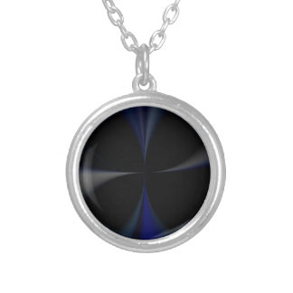 blue gray cross silver plated necklace