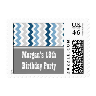 Blue Gray Custom Year Name Birthday Stamps