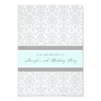 Blue Gray Damask 35th Birthday Party Invitations