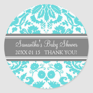 Blue Gray Damask Baby Shower Favor Stickers
