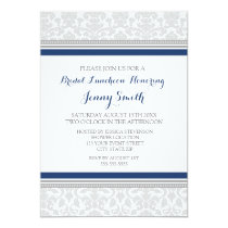 Blue Gray Damask Bridal Lunch Invitation Cards