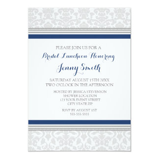 Blue Gray Damask Bridal Lunch Invitation Cards