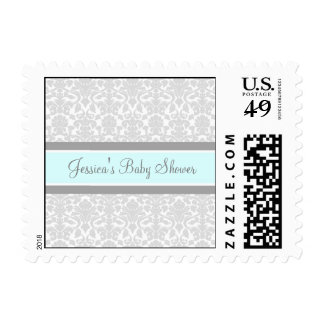 Blue Gray Damask Custom Baby Shower Stamps