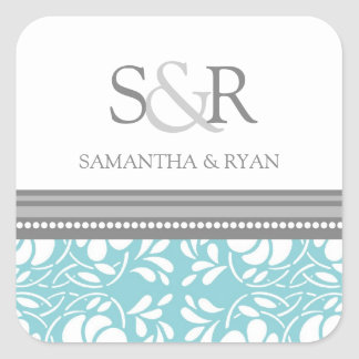 Blue Gray Damask Monogram Envelope Seal