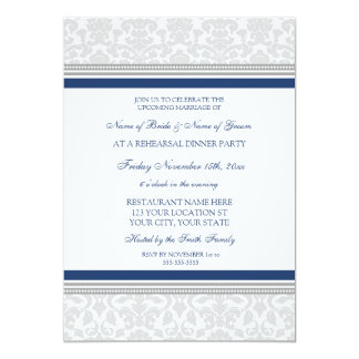 Blue Gray Damask Rehearsal Dinner Party 5x7 Paper Invitation Card