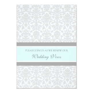 Blue Gray Damask Wedding Vow Renewal Invitations