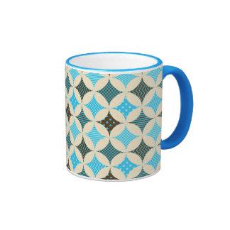 Blue Gray Diamond Circle Pattern Design Mugs