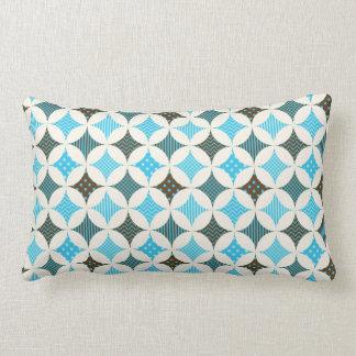 Blue Gray Diamond Circle Pattern Design Throw Pillow