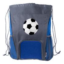 Blue Gray Drawstring Backpack: Soccer Drawstring Backpack