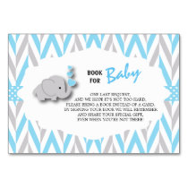 Blue & Gray Elephant Baby Shower | Bring a Book Card