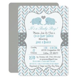 Blue Gray Elephant Baby Shower Invitation