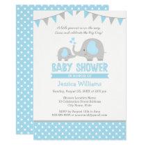 Blue Gray Elephant Baby Shower Invitations for Boy