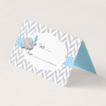 Blue & Gray Elephant Baby Shower | Place Cards