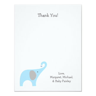 Blue Gray Elephant Baby Shower Thank You Notes Card