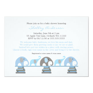blue gray Elephant Bring a Book Baby Shower Invite