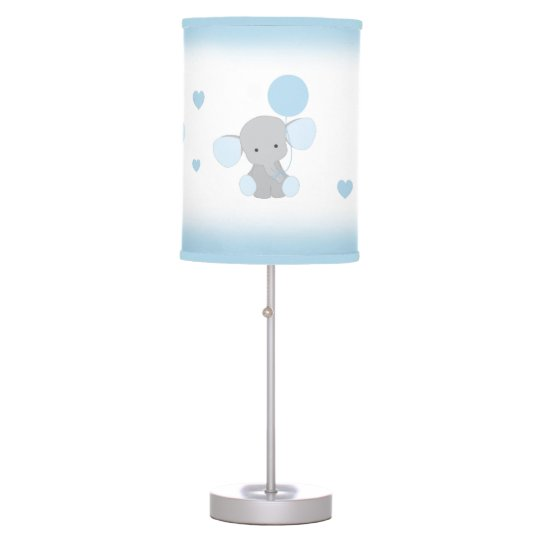 Blue Gray Elephant Nursery Baby Boy Safari Animal Table Lamp