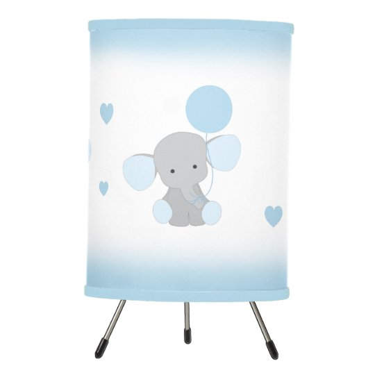 Blue Gray Elephant Nursery Baby Boy Safari Animal Tripod Lamp