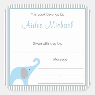 Blue & Gray Elephant Pinstripe Book Plate