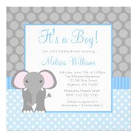 Blue Gray Elephant Polka Dot Boy Baby Shower Custom Invitation
