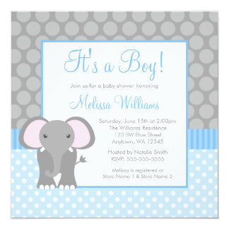 Blue Gray Elephant Polka Dot Boy Baby Shower 5.25x5.25 Square Paper Invitation Card