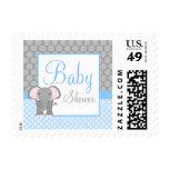 Blue Gray Elephant Polka Dot Boy Baby Shower Stamps