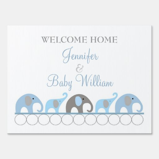 Blue Amp Gray Elephant Welcome Home Mom And Baby Sign Zazzle