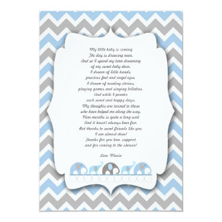 Blue Gray Elephants Baby shower thank you notes Card