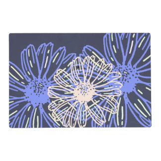 Blue gray floral custom laminated placemats