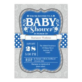 Blue Gray Floral Flower Baby Shower Invitation