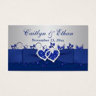 Blue, Gray Floral, Hearts Wedding Favor Tag