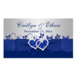 Blue, Gray Floral, Hearts Wedding Favor Tag Double-Sided Standard Business Cards (Pack Of 100)