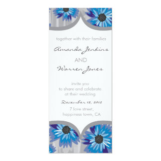 blue & gray floral pattern invite