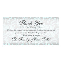 Blue Gray Floral Pattern Sympathy Thank You P card