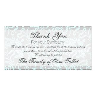 Blue Gray Floral Pattern Sympathy Thank You P card