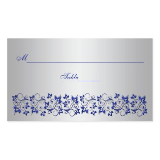 Blue, Gray Floral Place Card